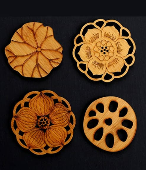 Wooden Water-Flower Coasters